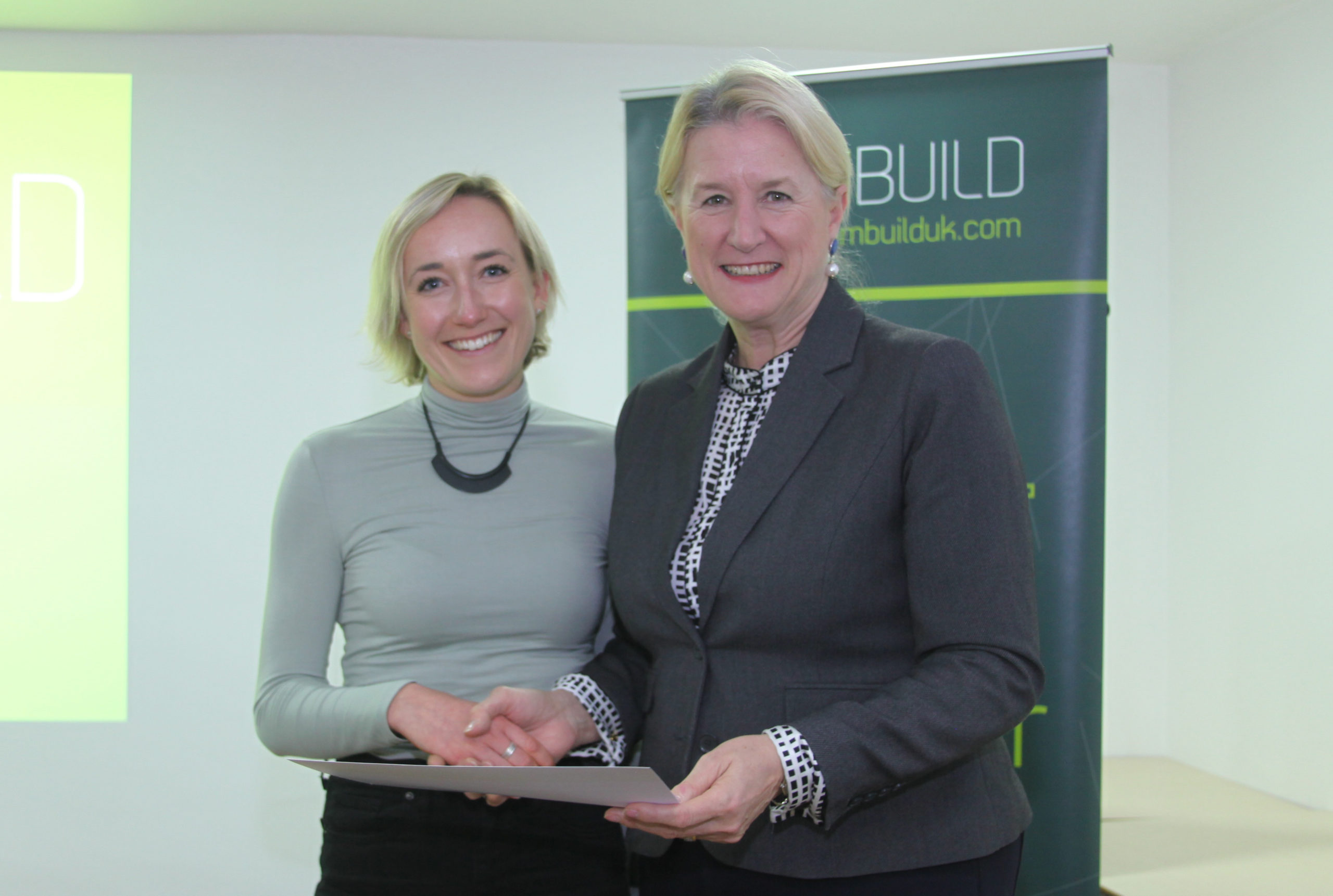 Winner of Teambuild 2019 Leadership Prize: Martha Andrews of BDP (Left) with Teambuild Chair Patricia Bessey (Right)
